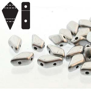 "Kite Bead™ ""01700"" Bright Aluminium Silver 2-håls 9*5 mm 10 gr"
