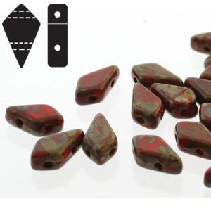 "Kite Bead™ ""93190-86800"" Red Travertin 2-håls 9*5 mm 10 gr"