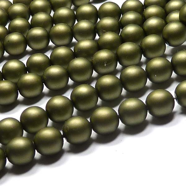 "Satin - Russian Green Matted ""85942"" rund glaspärla 8 mm 75 st"