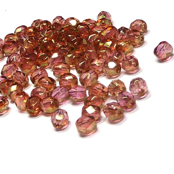 "Luster Rose Gold Topaz ""00030-65491"" firepolish 4 mm 100 st"