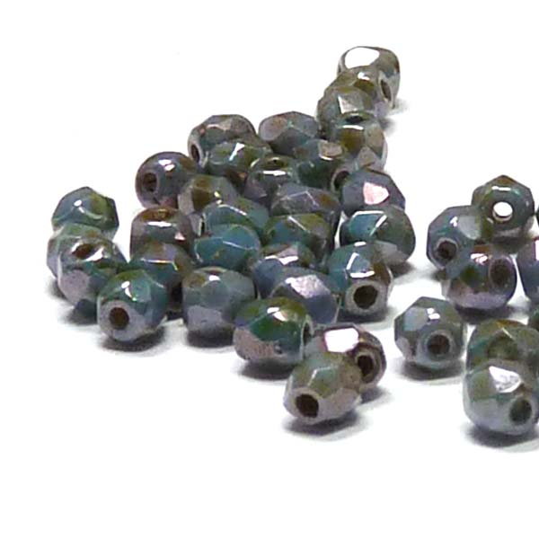 "Chalk white Green Luster ""00030-65431"" firepolish 3 mm, 100 st"