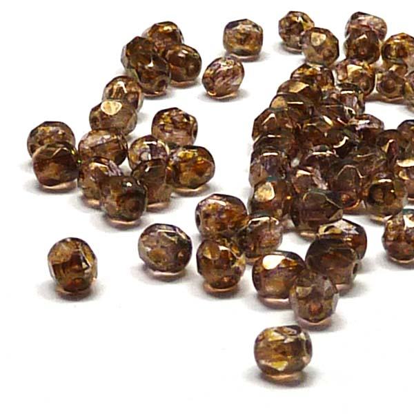 "Crystal Lila Gold Luster ""00030-15695"" firepolish 4 mm, 100 st"