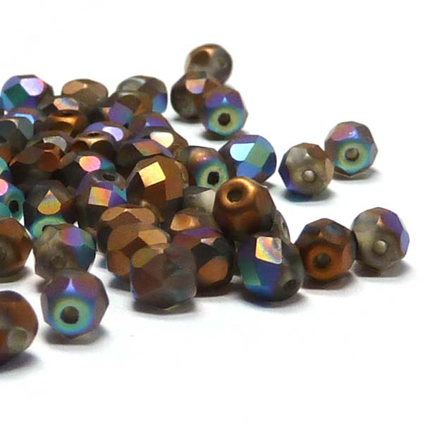 "Glittery Crystal Bronze Matted ""00030-98856"" firepolish 3 mm 100"