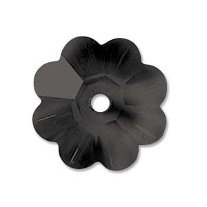 3700 Sew-on Margarita flower bead Jet 10 mm