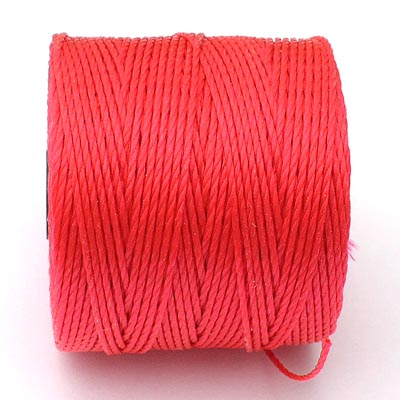 Bright coral Bead/Mac cord superlon, S-lon, makramé