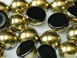 "Dome Beads ""23980-26441"" Jet Amber 12*7 mm, 5 st"
