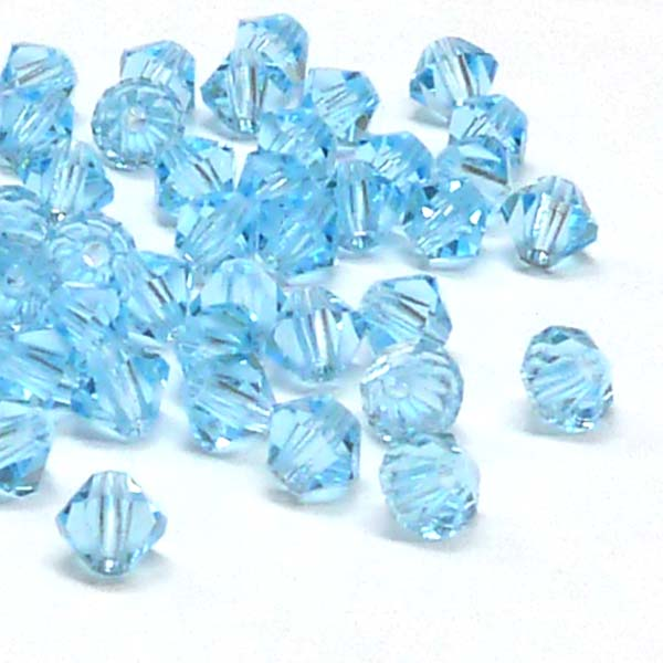 "Aquamarine MC machine cut bicone 4 mm ""60000"" 144 st"