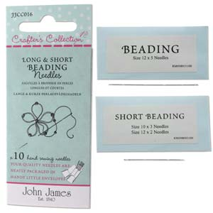 John James pärlnålar - Long & Short Beading needles, 10 st