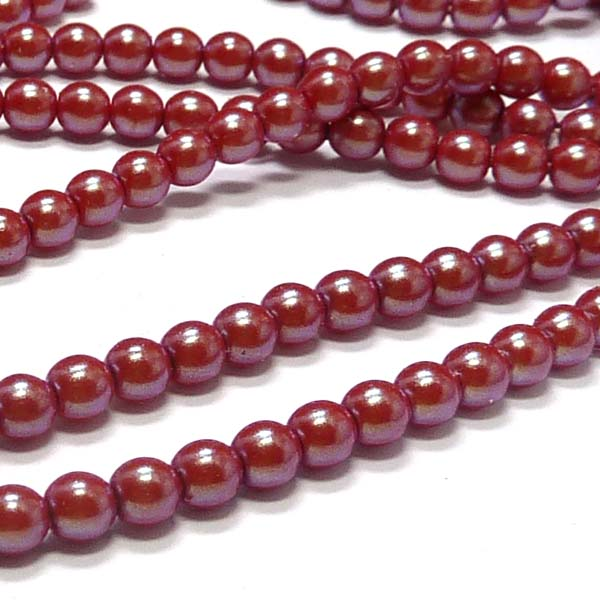 "Pearl Shell ""30005"" Cranberry rund glaspärla druks 3 mm 150 st"