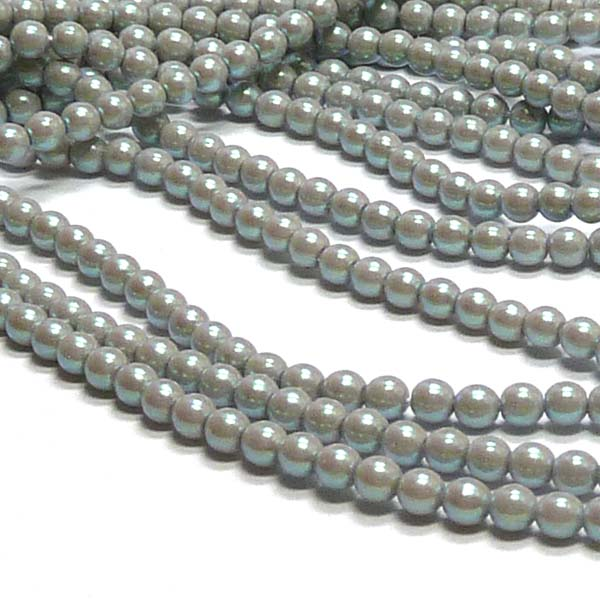 "Pearl Shell ""30003"" Smoked Silver rund glaspärla 3 mm 150 st"