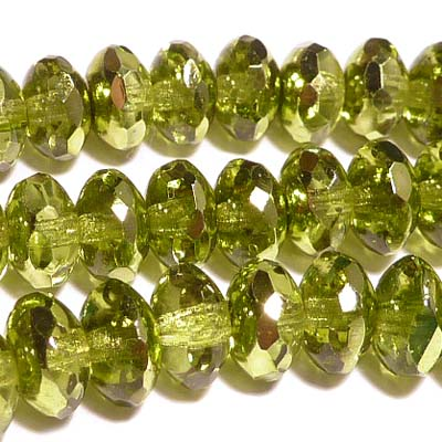 Avocado metallic ice - facetterad puffy rondell 4*7 mm, 10 st