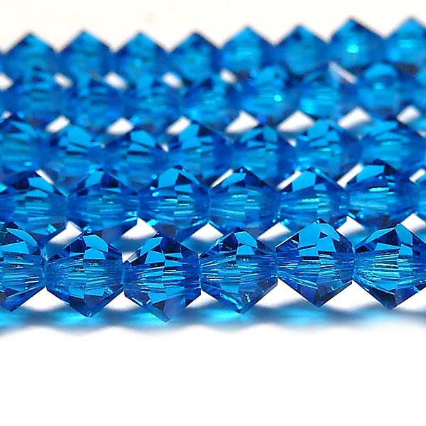 "Capri Blue, MC Machine cut bicone 4 mm ""60310"" 144  st"