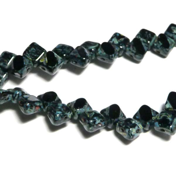 "Silky Bead Jet Picasso""23980-86800"" 2-håls 6 mm 40 st"