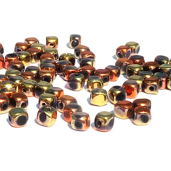 "Glass Cubes Jet Californioa Gold Rush ""23980-98542"" 4 mm, 100 st"