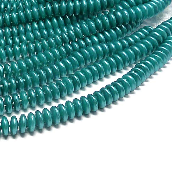 "CzechMates® Lentil Pearl Coat Teal ""25027"" 6 mm 50 st"