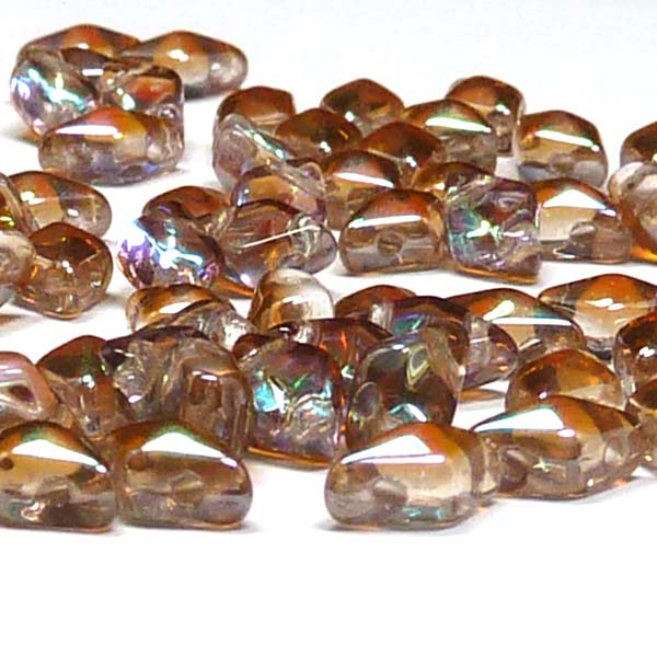"DiamonDuo ""00030-98532"" Crystal Brown Rainbow 2-hålspärla 8*5 m"