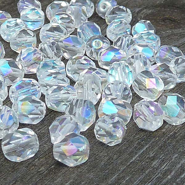 "Crystal AB ""00030-28701"" facetterad firepolished 6 mm, 50 st"