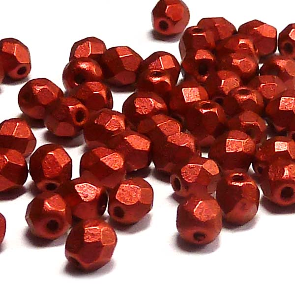 "Chalk White Lava red ""03000-01890 "" firepolished 4 mm, 100 st"