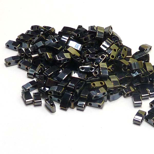 "Half Tila Bead ""HTL464"" Light Gunmetal, 5*2,5*1,9 mm 5 gr"