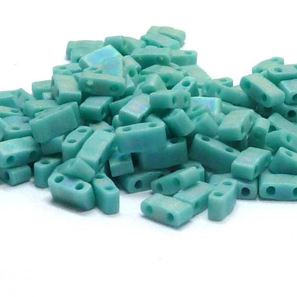 "Half Tila Bead ""HTL412FR"" Opq Turquoise Green Matted AB , 5*2,5*"
