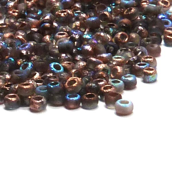 "Tjeckisk seedbead 11/0 ""00030-98583"" Crystal Etched Copper Rainb"