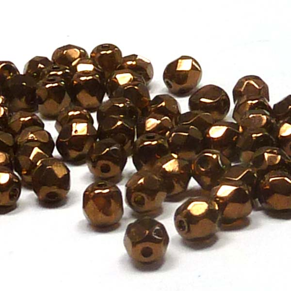 "Dark Topaz Bronze ""10090-14416"" firepolish 4 mm 100 st"