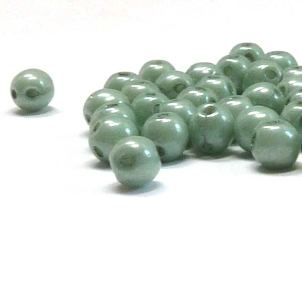 "RounDuo mini ""03000-14459"" Chalk White Teal Luster 4 mm 50 st"