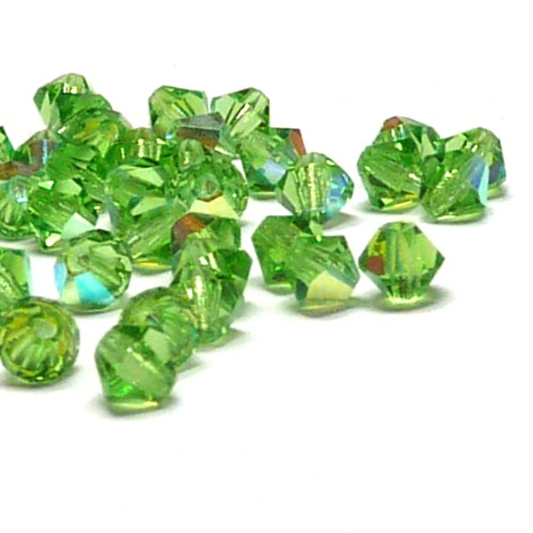 "Peridot AB, MC Machine cut bicone 4 mm ""50502-28701"" 144 st"