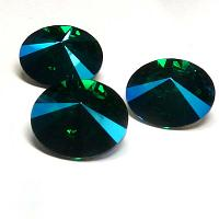 1122 Swarovski Rivoli Emerald Blue AB 12 mm 1 st