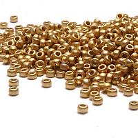 "Miyuki 15/0 seedbead ""193F"" 24 karat Matted Gold Light Plated 5"