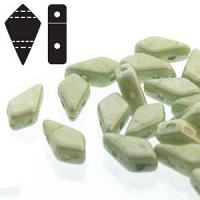"Kite Bead ""03000-14457"" Chalk White Light Green Luster 2-hålspä"