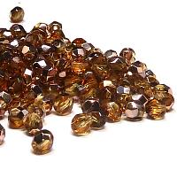 "Copper Medium Topaz ""C10040"" firepolish 4 mm 100 st"
