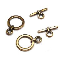 Toggle - liten rund, antikguld 14 mm, 1 set