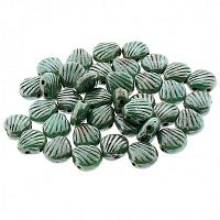 "Shell Beads Shelly ""63130-65401"" Green Turqouise Ceramic Look Pi"