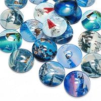 "Cabochon av glas ""Vinter"" 18 mm, 3 st"