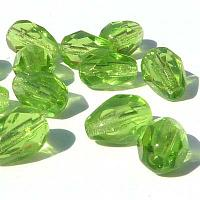 Peridot grön - facetterad droppe 7*5 mm, 20 st