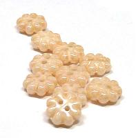 "2-hole Flower ""03000-14413"" Chalk White Champagne luster 9 mm 10"