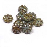 "2-hole Flower ""03000-65431"" Opaque Green Luster 9 mm 10 st"