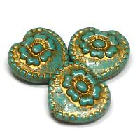 "Folklore Heart ""Opague Jade Gold"" 17*17 mm 1 st"