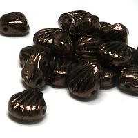 "Shell beads Shelly ""23980-14435"" Jet Copper10 st"