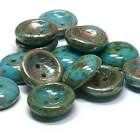 "Cup Button ""63030-43400"" Turquoise Picasso 14 mm 2 st"