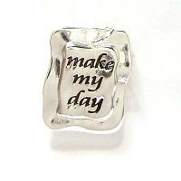 "Budskapsberlock ""Make my day"", silverfärgad, 25*20 mm"