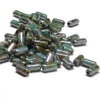 "Tubelet Bead ""03000-65431"" White Blue - Green Luster 6*2,8 mm 50"