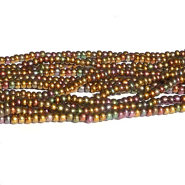 "Tjeckisk seedbead 11/0 ""Dark Bronze AB Opaque 01640"""
