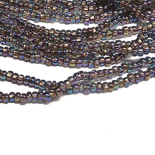 "Tjeckisk seedbead 11/0 ""Black Diamond Copperline AB 49019"""