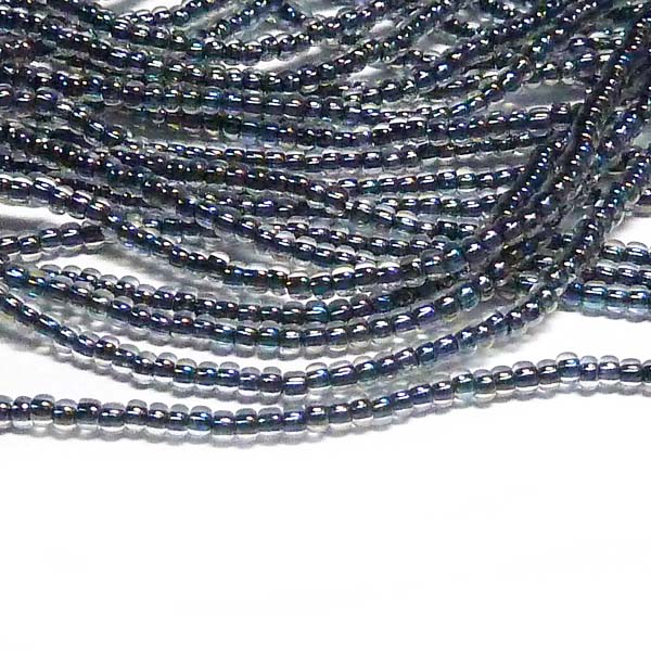 "Tjeckisk seedbead 11/0 ""Crystal Black Copperlined AB 58549"""