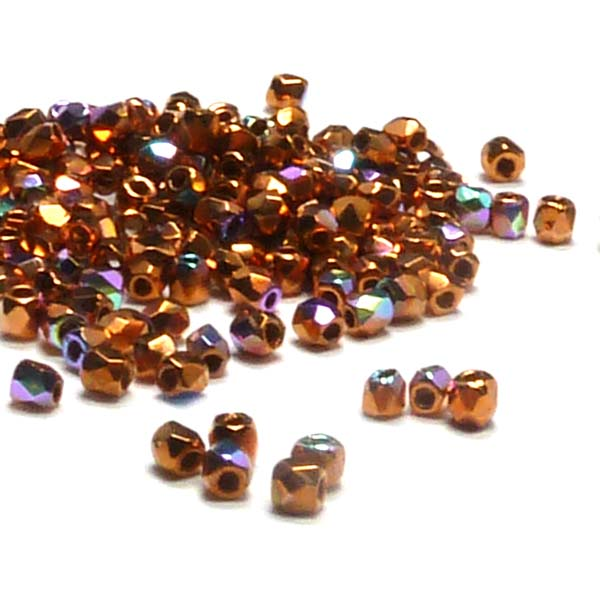 "True 2 mm firepolish Crystal Copper Plated AB ""00030-CPAB"" 50 st"