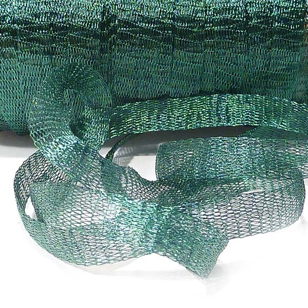 Deep see green wirelace - mesh,  6 mm bred, 1 m
